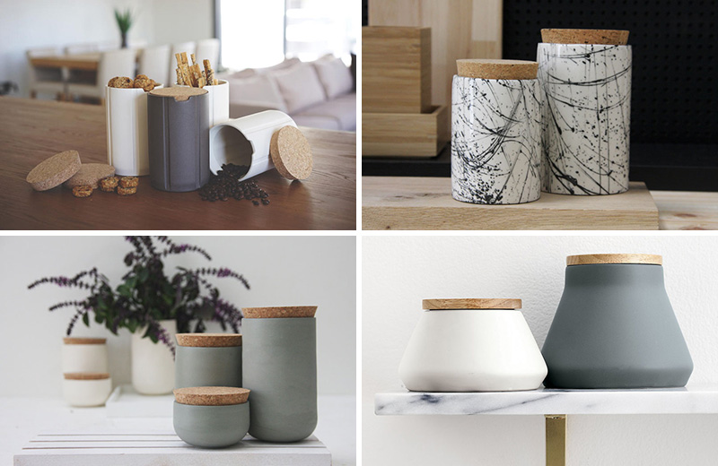 These modern jars and canisters are perfect for sprucing up any pantry.  #PantryIdeas #StorageIdeas #KitchenStorage #KitchenJars #ModernJar #ModernCanister #PantryJars