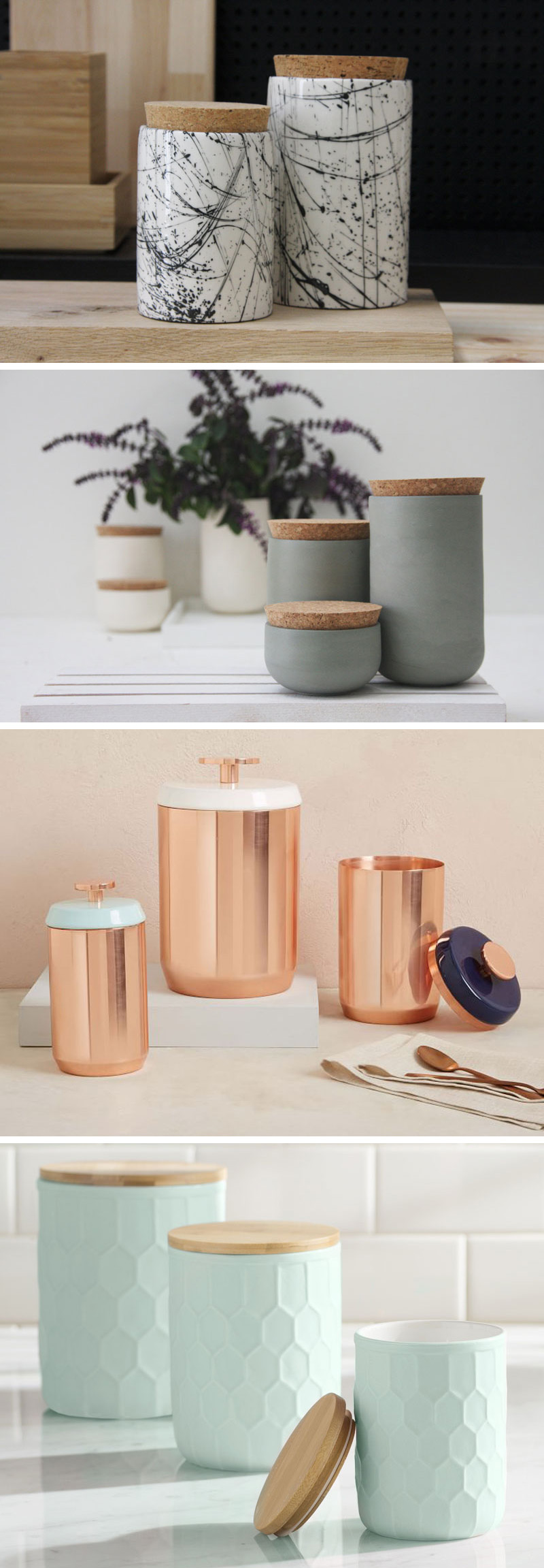 These modern jars and canisters are perfect for sprucing up any pantry or countertop.