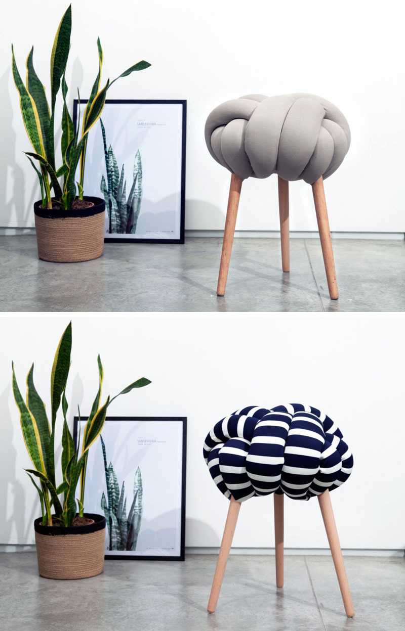 These modern stools are made from solid or patterned fabric stuffed with foam filling and are secured to Beech wood legs.