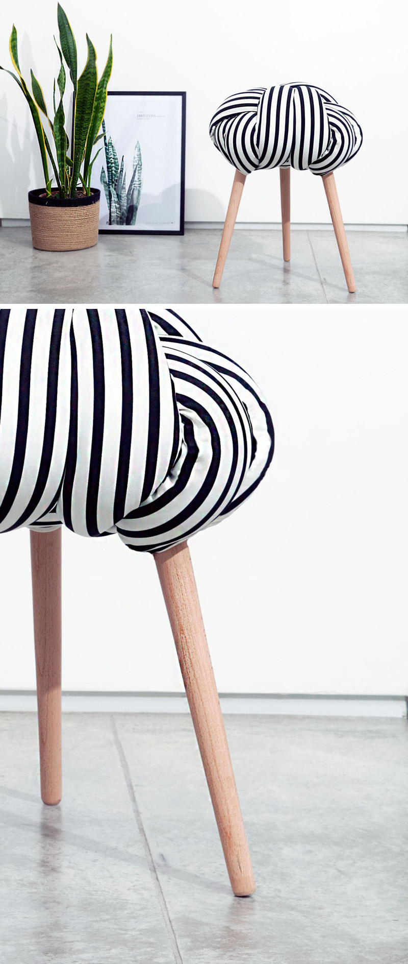 This modern stool is made from a pattern fabric stuffed with foam filling, and is secured to Beech wood legs.