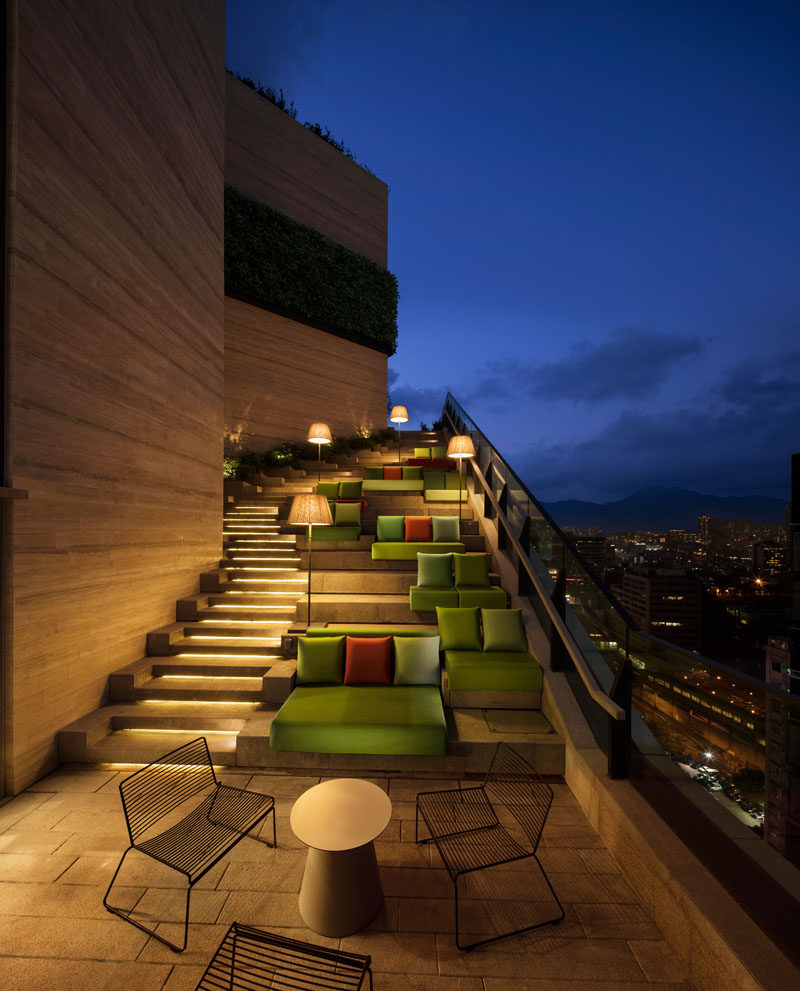 On the roof of this residential tower in Hong Kong, there's the grand staircase that leads to the upper floor of the clubhouse. The stairs, with hidden lighting, also have multiple seating areas available as you climb the stairs.