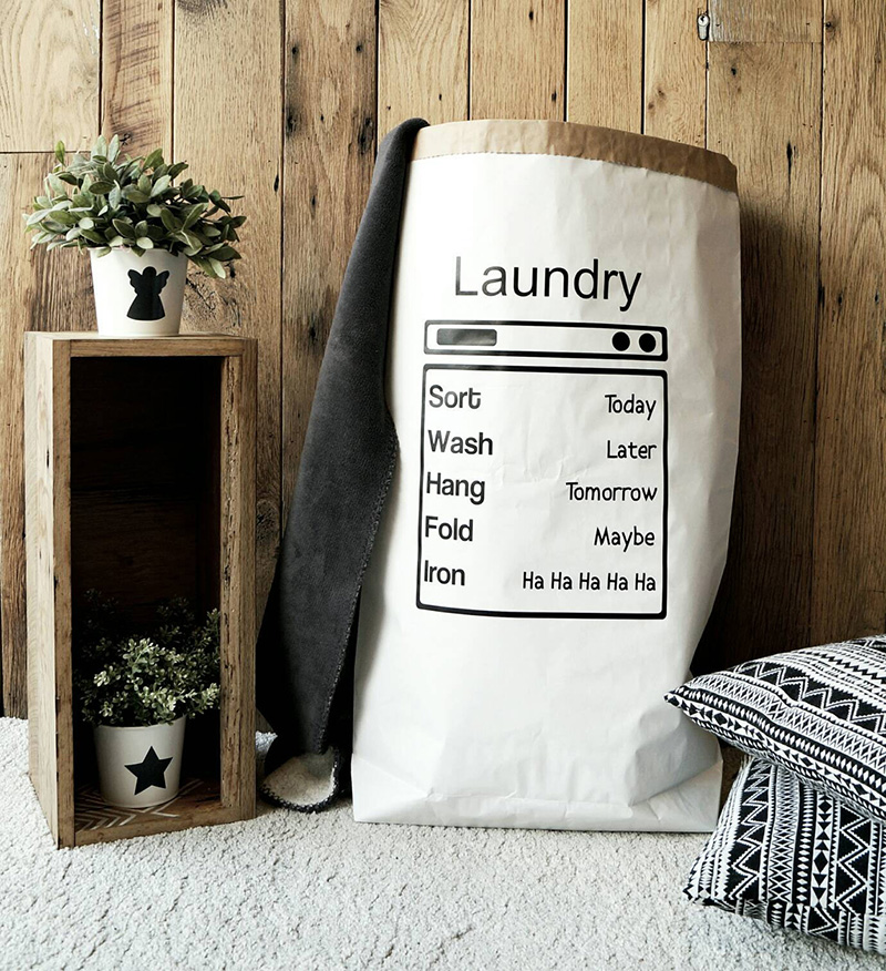 Funny and specialised for laundry, this paper basket is made from 3 ply reinforced kraft paper, with a matte vinyl sticker on the front. Standing at over 33 inches, this paper basket can hold up to 70 pounds.