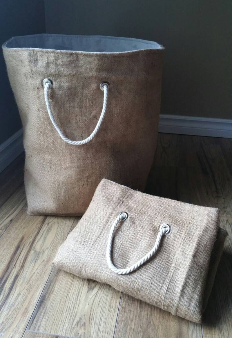 Made from natural burlap, 100% cotton canvas, and rope handles, these laundry hampers are reversible and perfect for carrying clothes and extra heavy items.