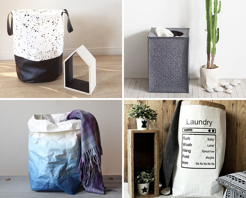 These modern laundry hampers and baskets are made from canvas, cotton, felt, and paper.