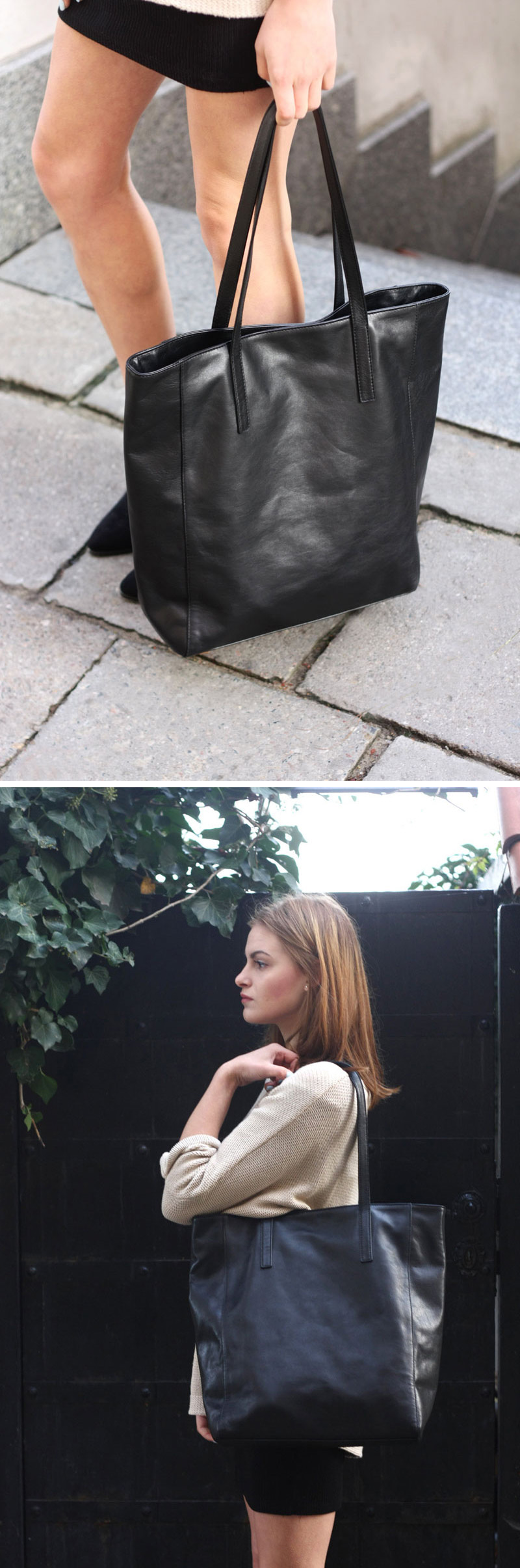 573eada645e7 Throw this modern black leather tote over your shoulder and your look is  complete.