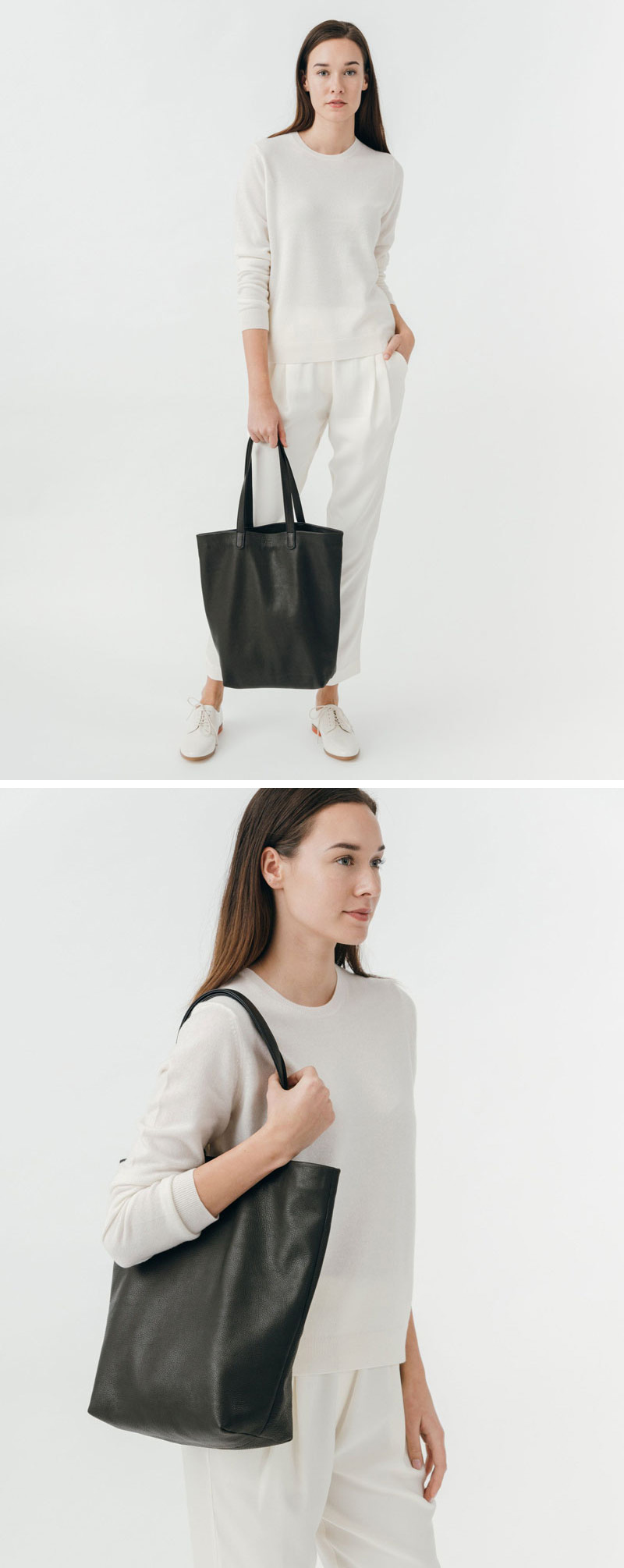 With a deep body and an internal zippered pocket you'll be able to fit all your daily essentials into this modern black leather tote.