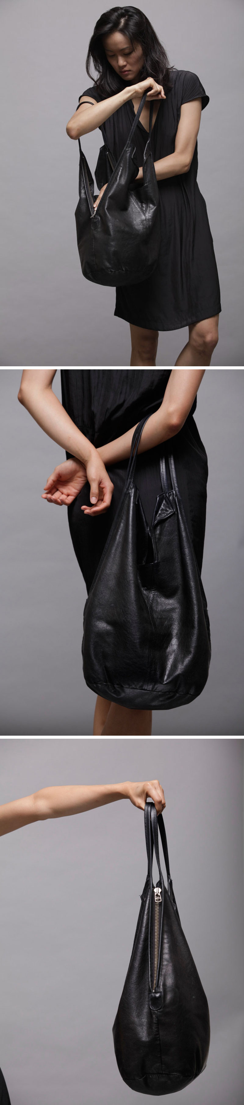 6053ca5e40e3 Change things up with this modern black leather tote that has zippers on  either side to