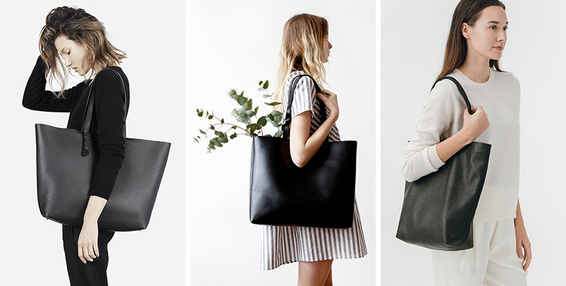 These modern leather black totes are functional and fashion forward.