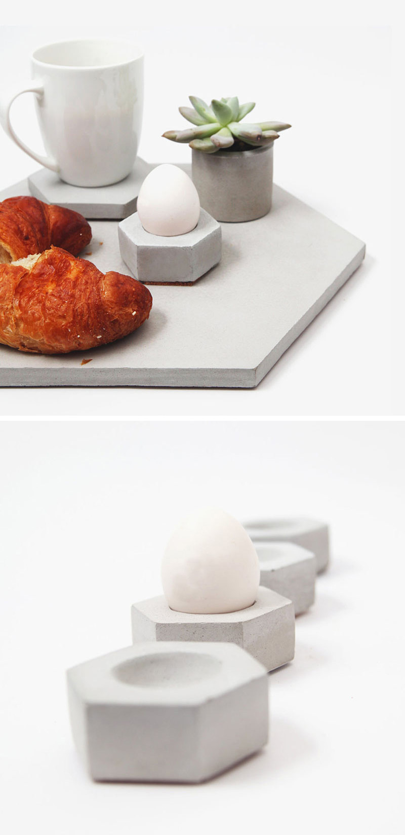 Although the material may be known for it's hard edges, these modern concrete egg cups gently cradle your egg and keep it in the perfect position until you're done.