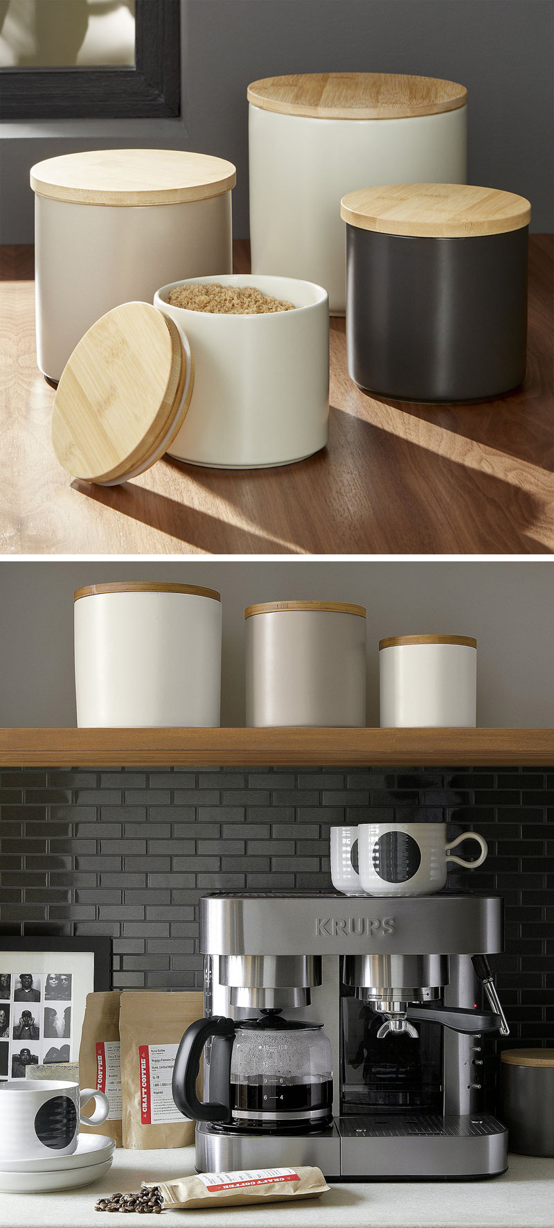 These matte glazed modern canisters are sleek in design, and practical in the kitchen. A bamboo lid with a silicone gasket ensures that the contents inside stay fresh.