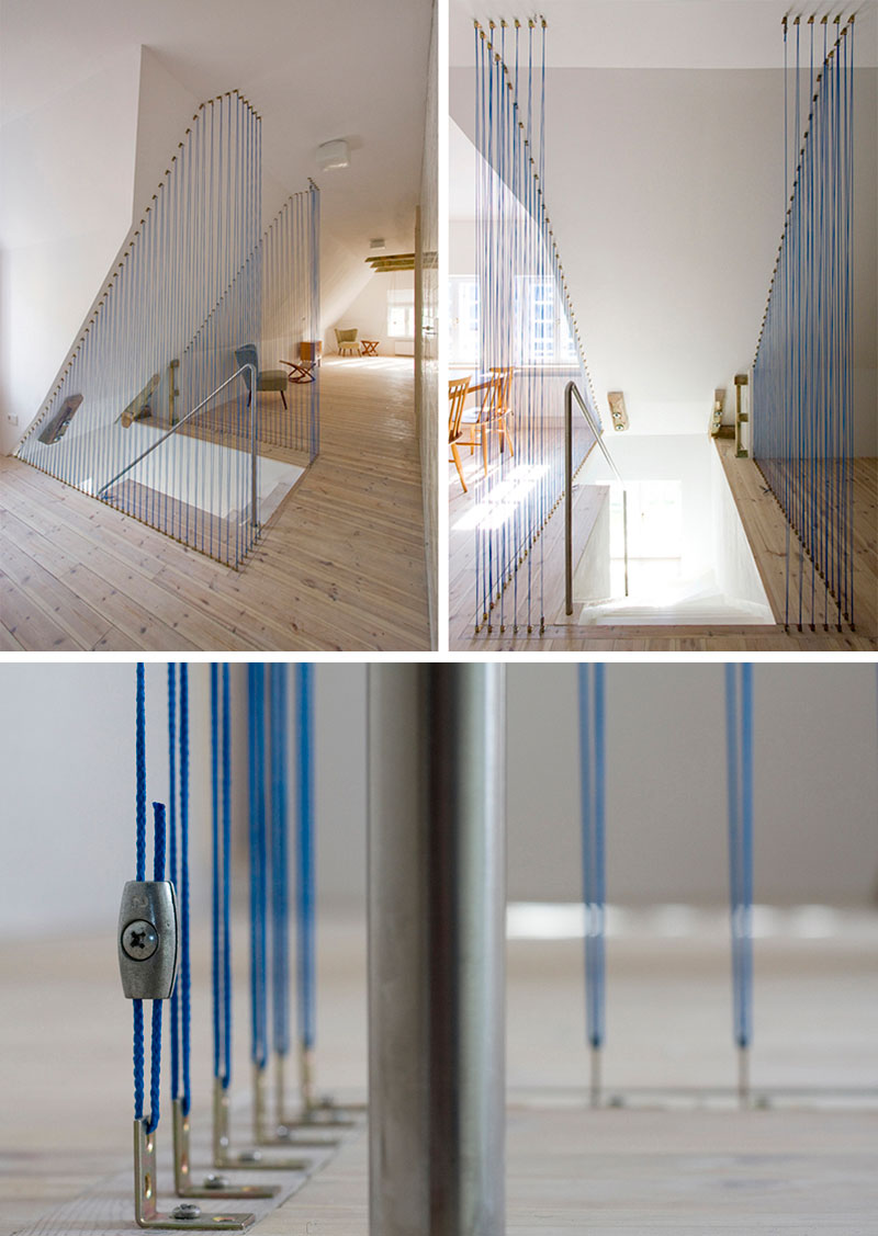 Genial At The Top Of These Stairs In This Modern Home, Blue Thin Ropes Have Been  Added To Create A Safety Barrier And A Delicate Design Feature.