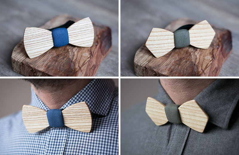 These super simple and modern wood bow ties add texture and sophistication to a formal outfit but are casual enough that they could also be worn for fun men's fashion.
