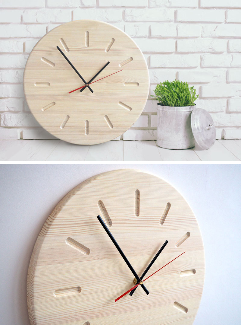 This modern light wood wall clock is simplistic in design and makes a perfect addition to a minimal interior.