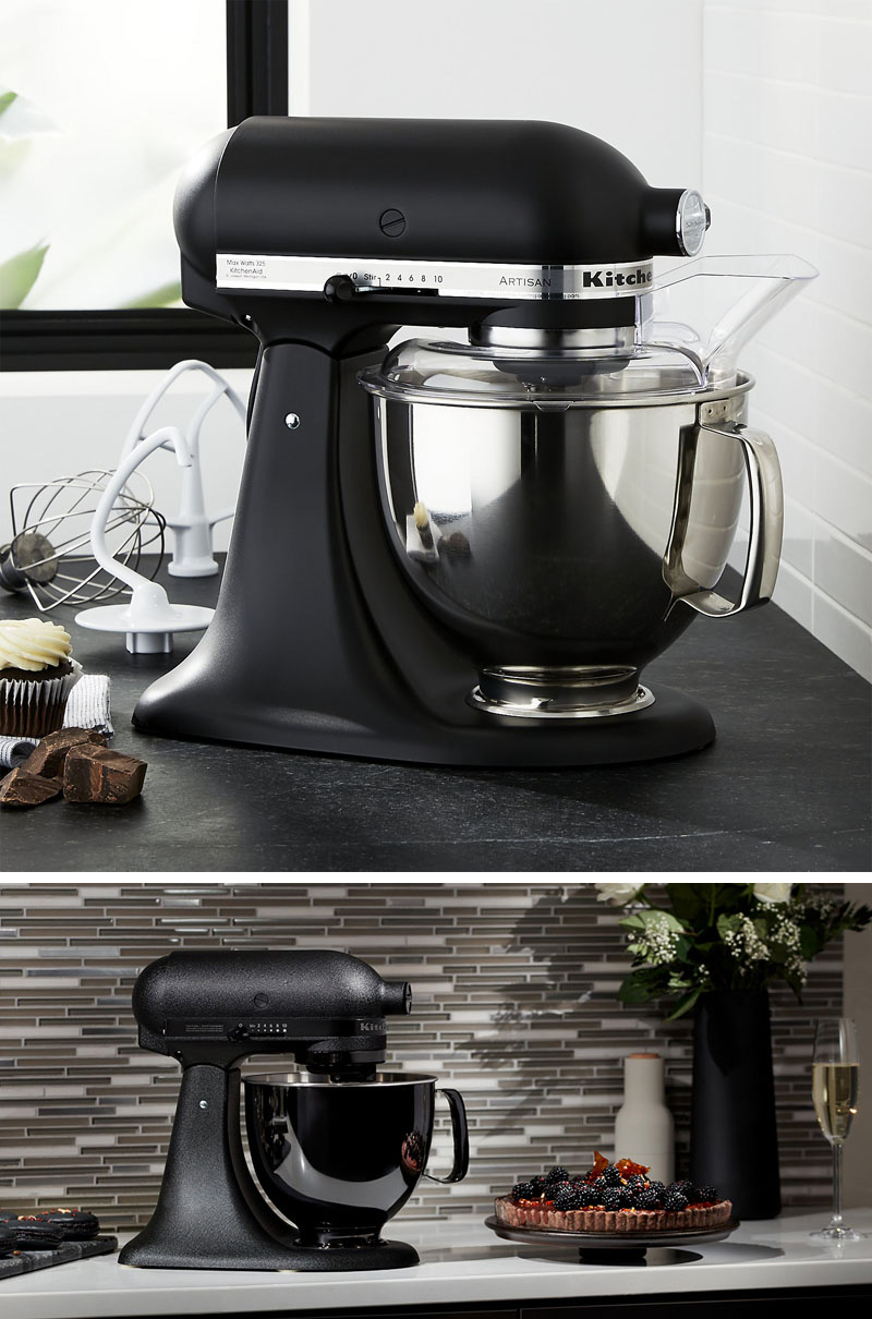This modern matte black stand mixer is the ultimate display of luxury and allows you to bake the fluffiest cakes and cookies.