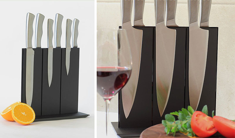 Easy To Use And Simple Clean This Matte Black Magnetic Knife Block Is Perfect For The Modern Kitchen
