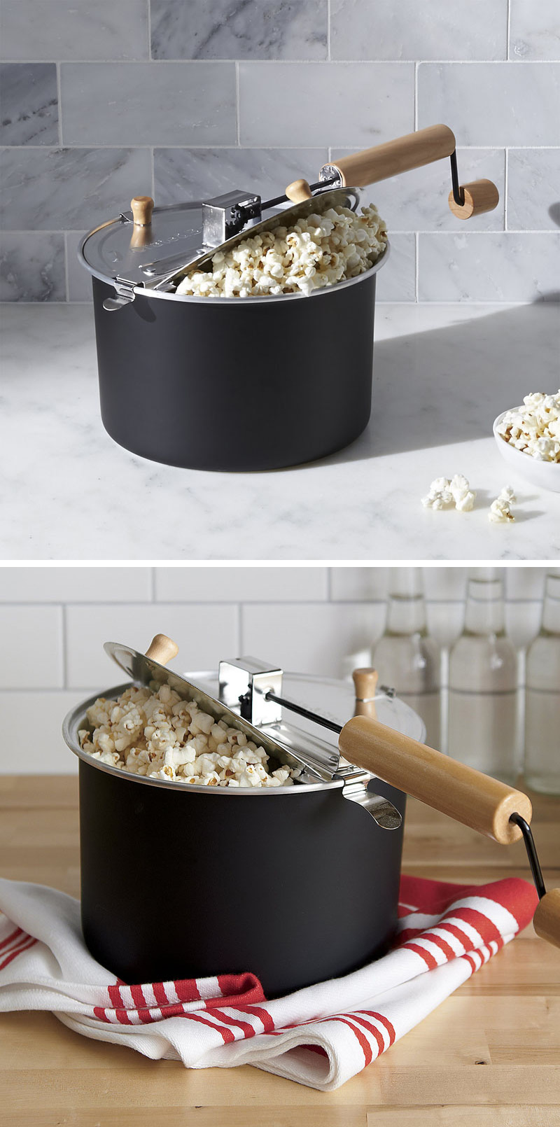 Make perfect popcorn every time with this modern matte black stove-top popper that also adds style to your kitchen.