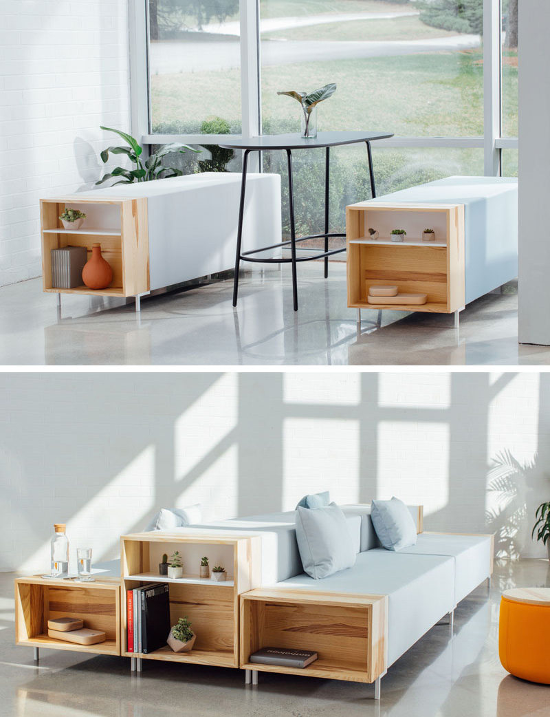 this modular office furniture has open wood boxes on the