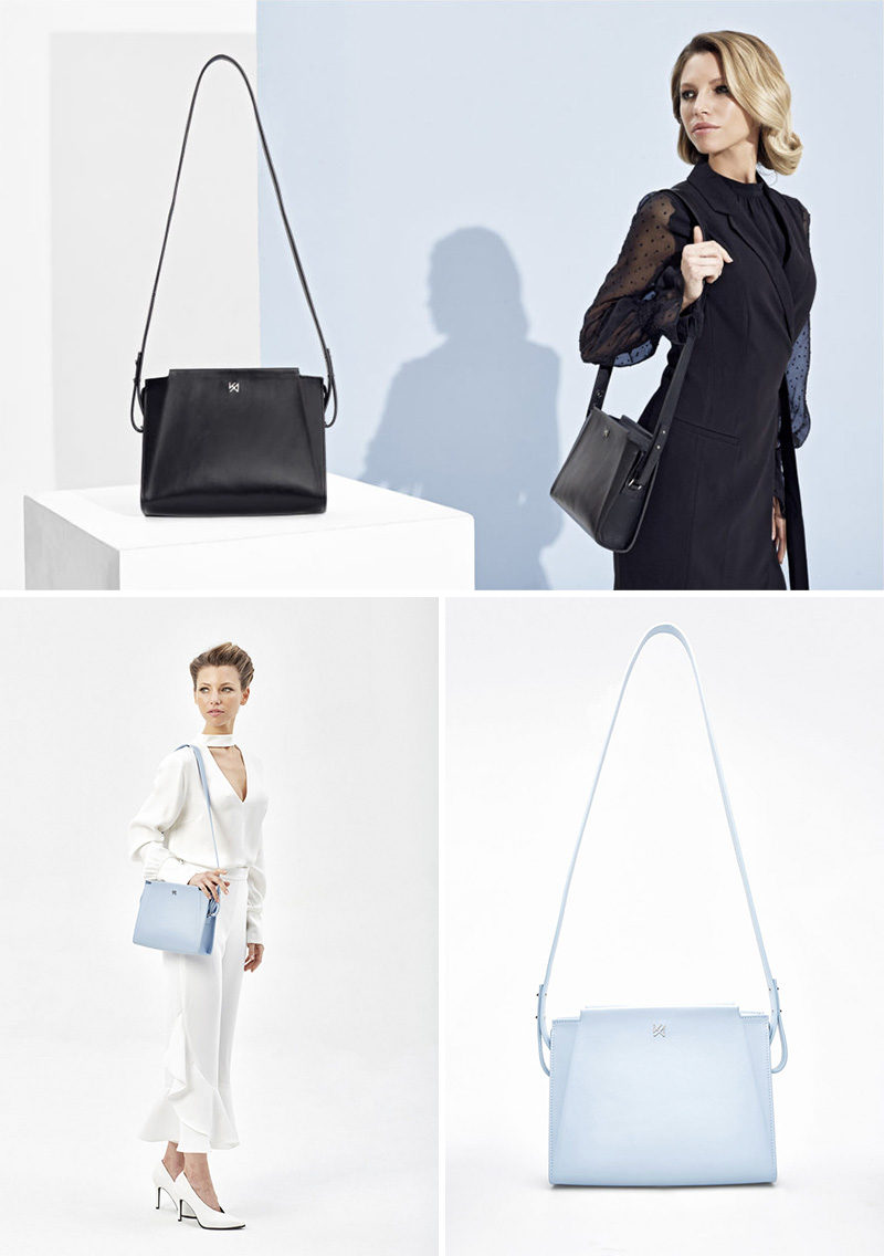 The Silhouette Shoulder Bag is a minimalist, black rectangular bag that opens by a double zipper, and has a detachable shoulder strap.