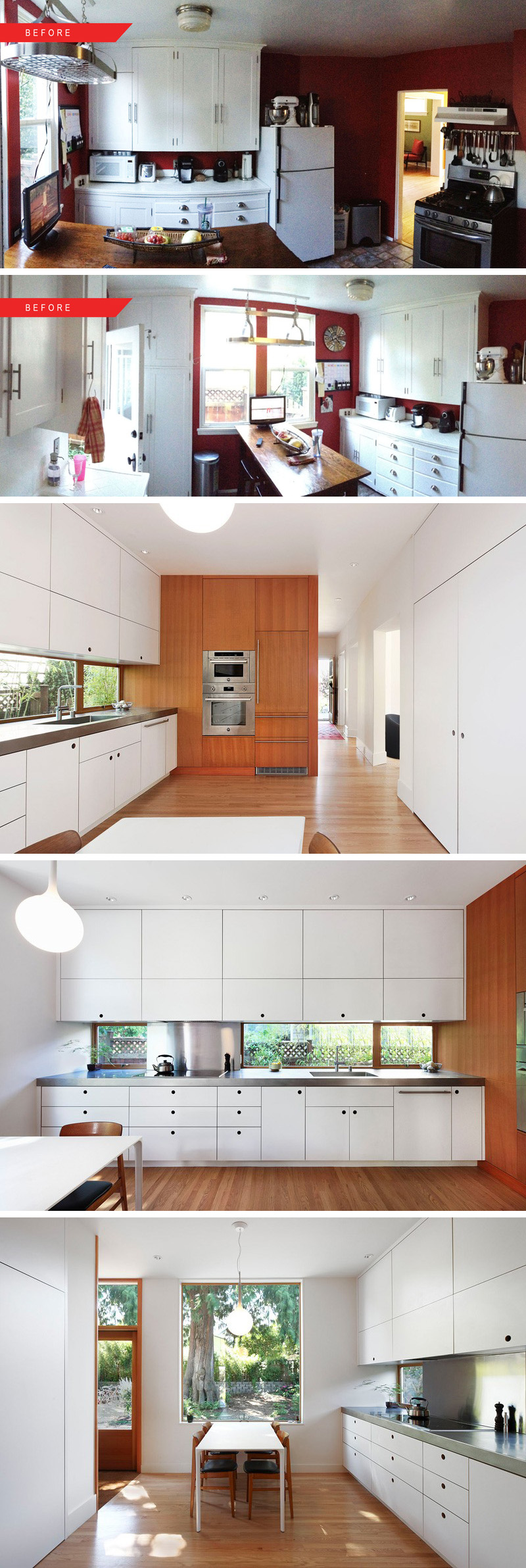 This kitchen was transformed from a dark tight space into a bright open one by adding a letterbox window, changing the layout of this modern kitchen, and adding built in appliances with an integrated fridge into a wood panelled wall