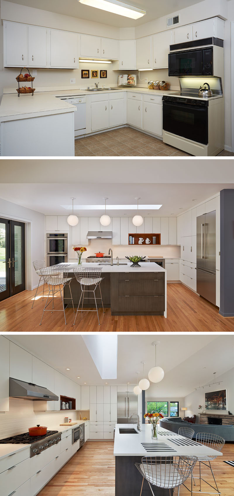 This outdated kitchen was transformed into a brighter happier space by opening it up, changing the light fixtures, upgrading the appliances and adding a central island which helps connect the kitchen to the other areas in this modern home.