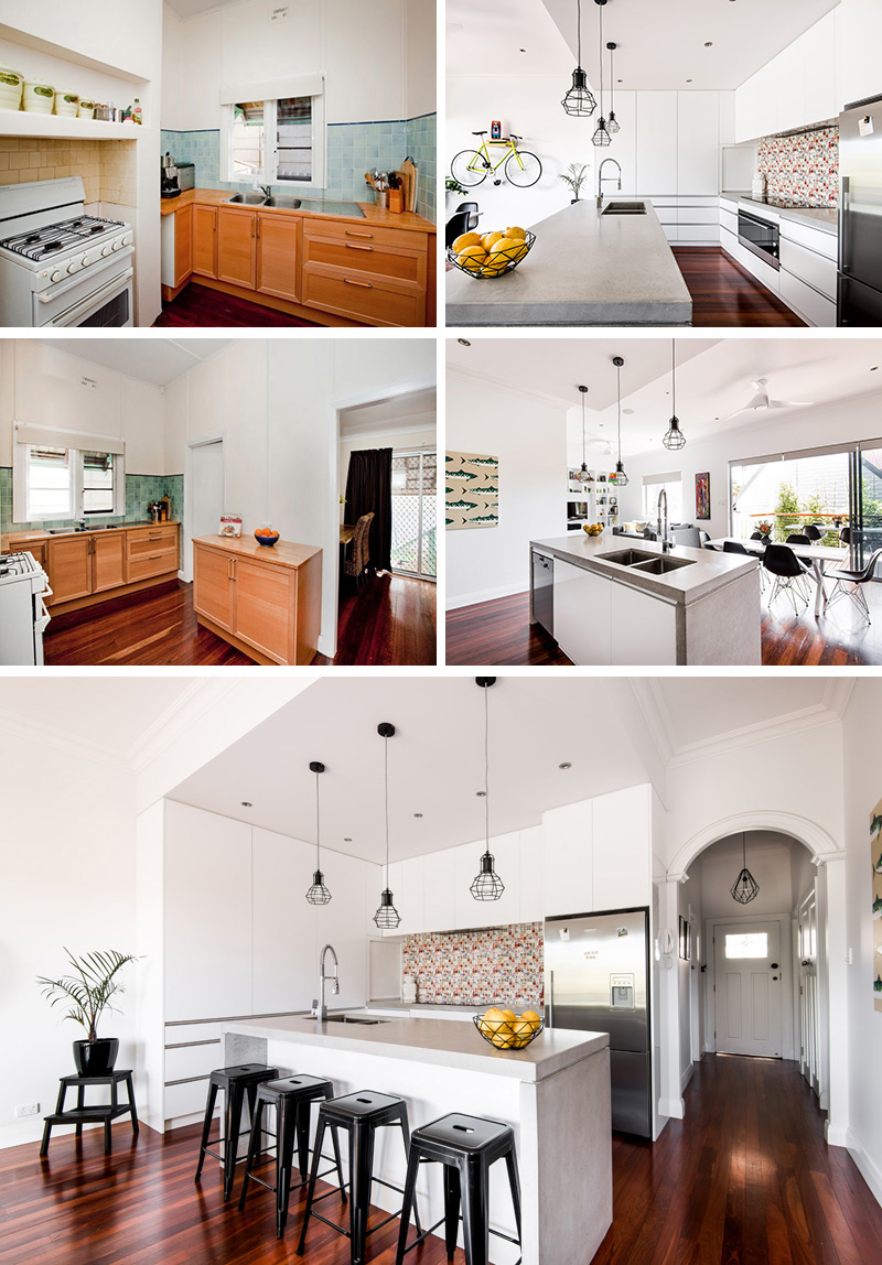 The wood cabinets and blue tile backsplash in the outdated kitchen were traded out for crisp white cabinets, concrete counter tops, industrial pendant lights, and a modern, colorful backsplash.