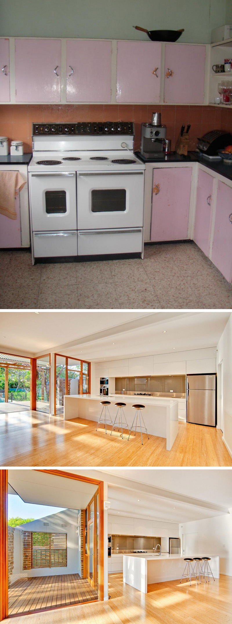 The pink cabinets, outdated stove, and tiled floor were all taken out and replaced with shiny new appliances, bright white cabinets, a long island with bar seating, and a new wood floor to make this kitchen modern.