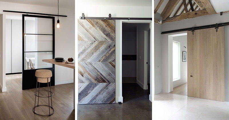 Here are 10 examples of sliding barn doors that show how they can be used in a modern home to save space and provide separation in a home.