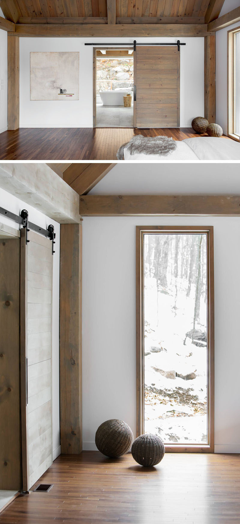 The wood on this sliding door matches the wood used for the beams in the bedroom and creates a look of continuity.