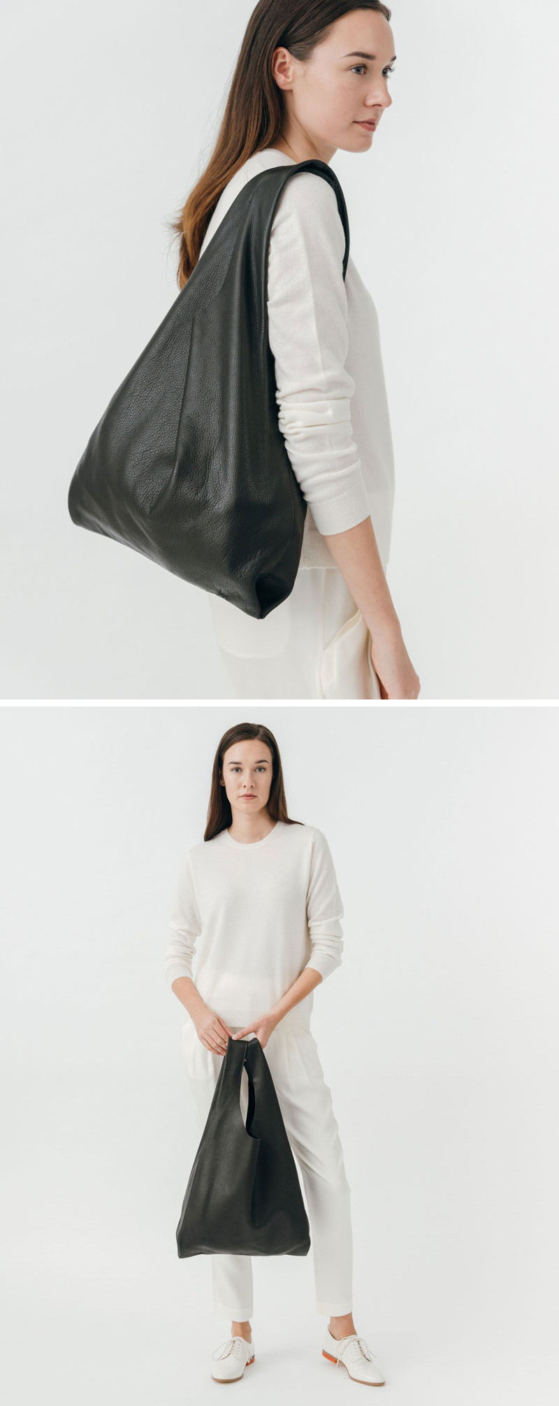 The soft leather of this modern black tote lets it drape over your shoulder effortlessly.