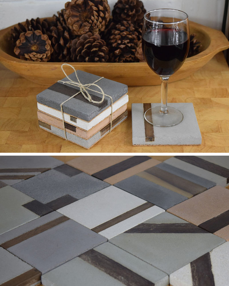 These modern square concrete coasters have strips of hardwood inlayed in them.