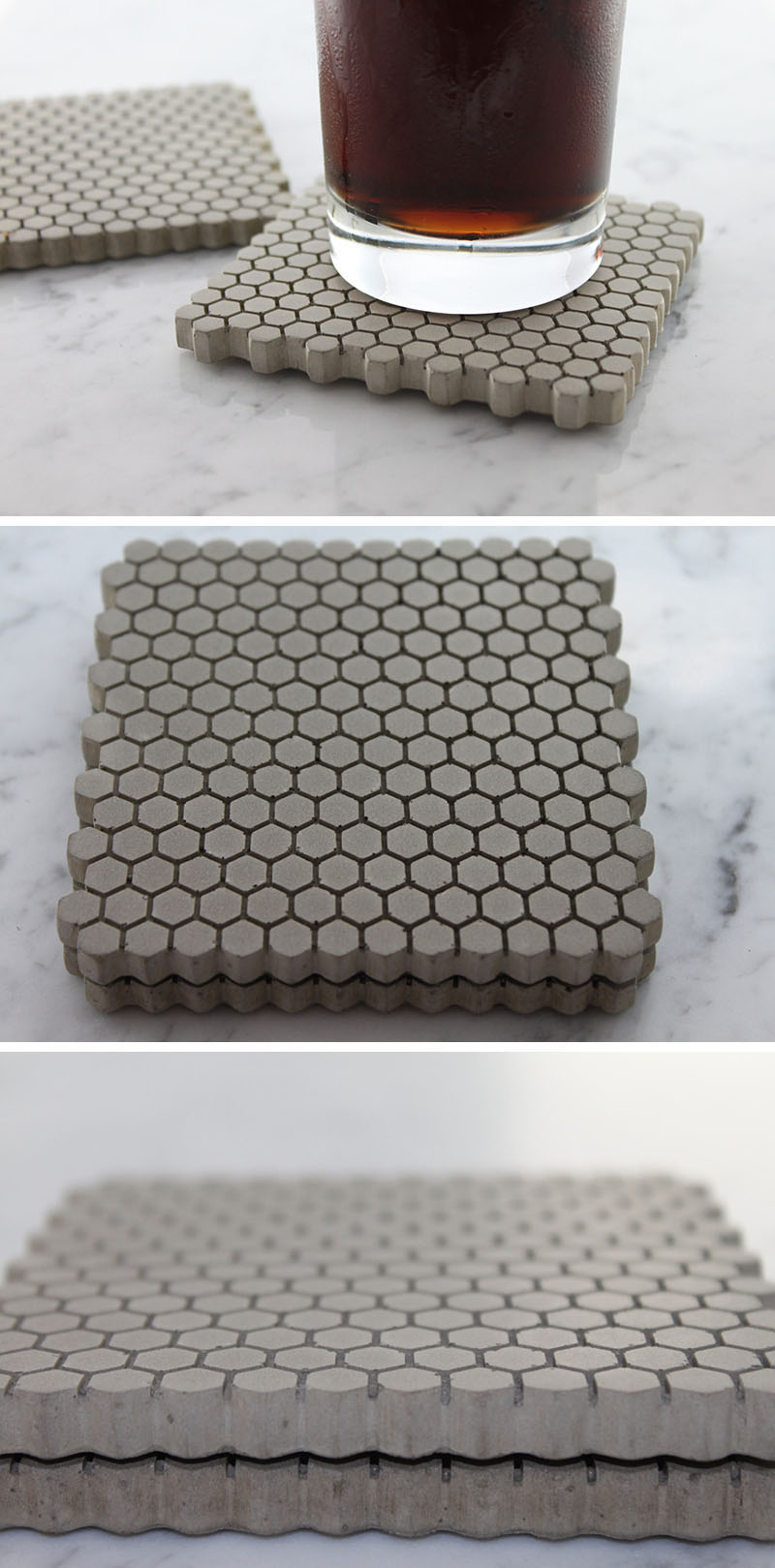 Square concrete coasters with a hexagonal pattern on the surface add a geometric element to the modern coasters.