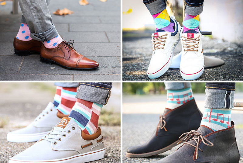 These modern statement socks are bold and colorful and perfect for men's fashion.