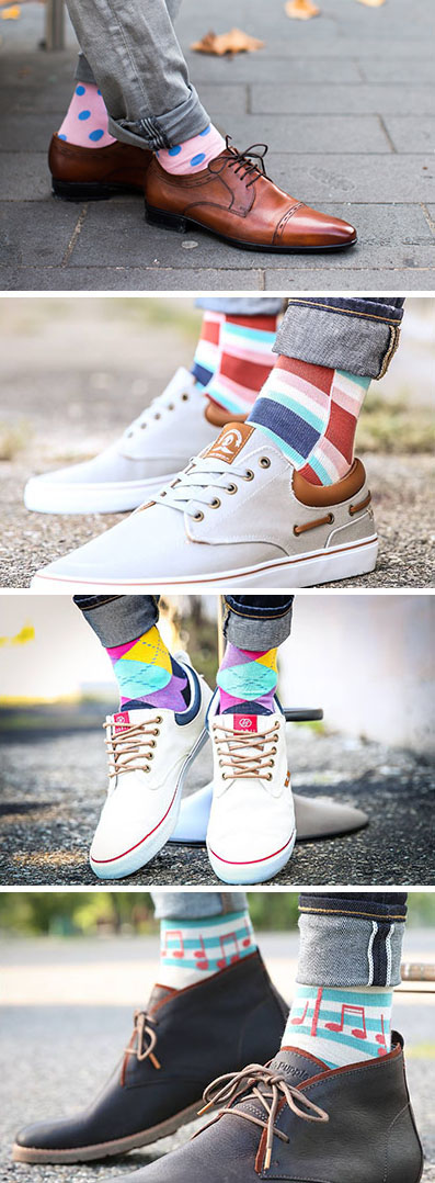 Perfect for all the men out there that want to bring something extra to their fashion style, these 8 pairs of statement socks are bold and bright.