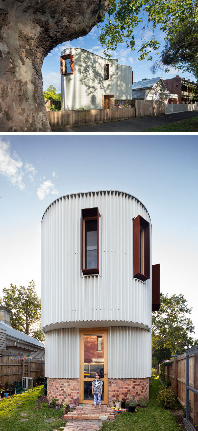 This australian house has a curved exterior of zig zag metal ·