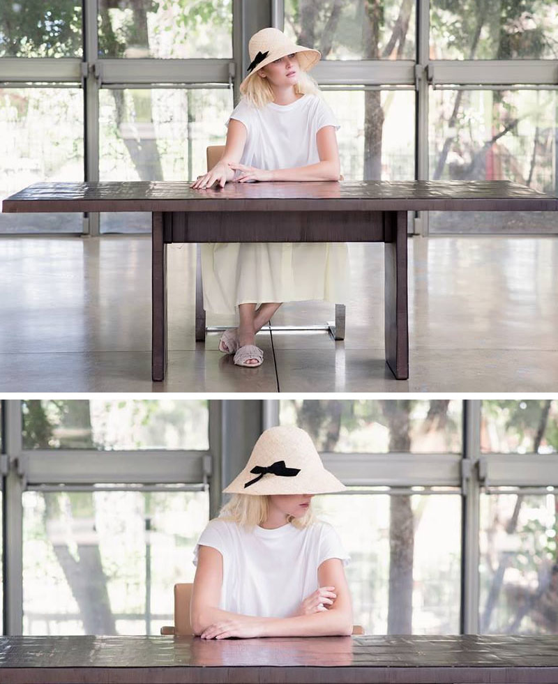 Yael Cohen, a fashion designer based in Israel, has created a line of modern straw hats that are perfect for summer, like this light colored straw bucket hat with a black bow on it.