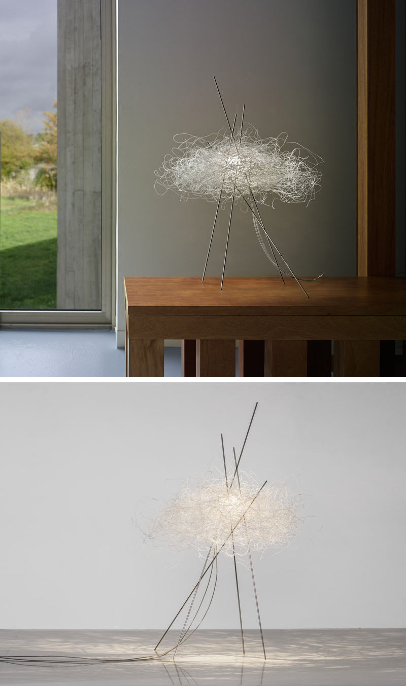 Arturo Alvarez has designed Pili, a modern decorative table lamp, that's made from a single, white painted stainless steel thread.