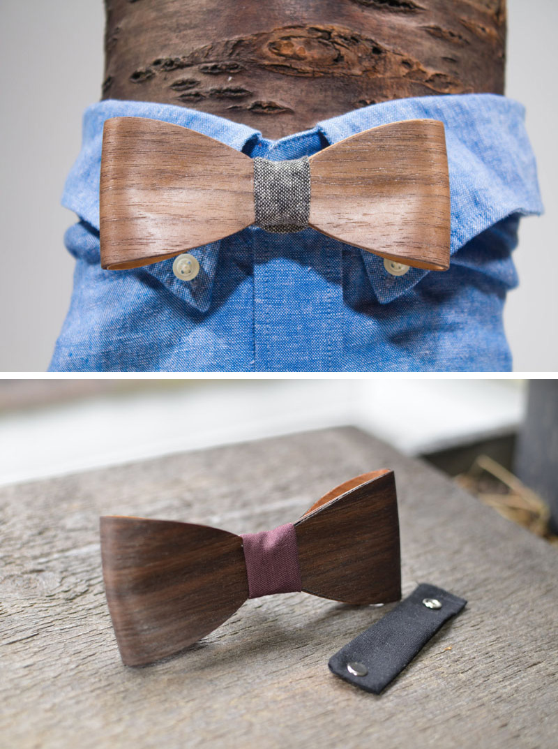 Thin, but sturdy strips of wood have been artistically shaped to form a modern bow tie that features a fabric centrepiece that attaches to an adjustable neck strap