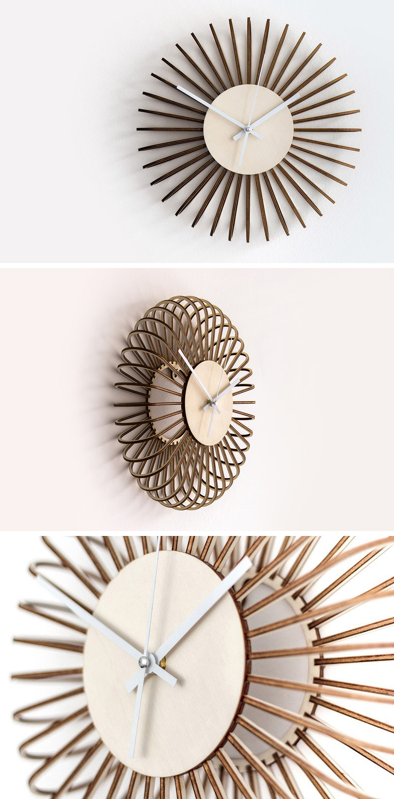 Individual pieces of wood make up these unique, modern wood wall clocks to create a smooth continuous look all the way around.