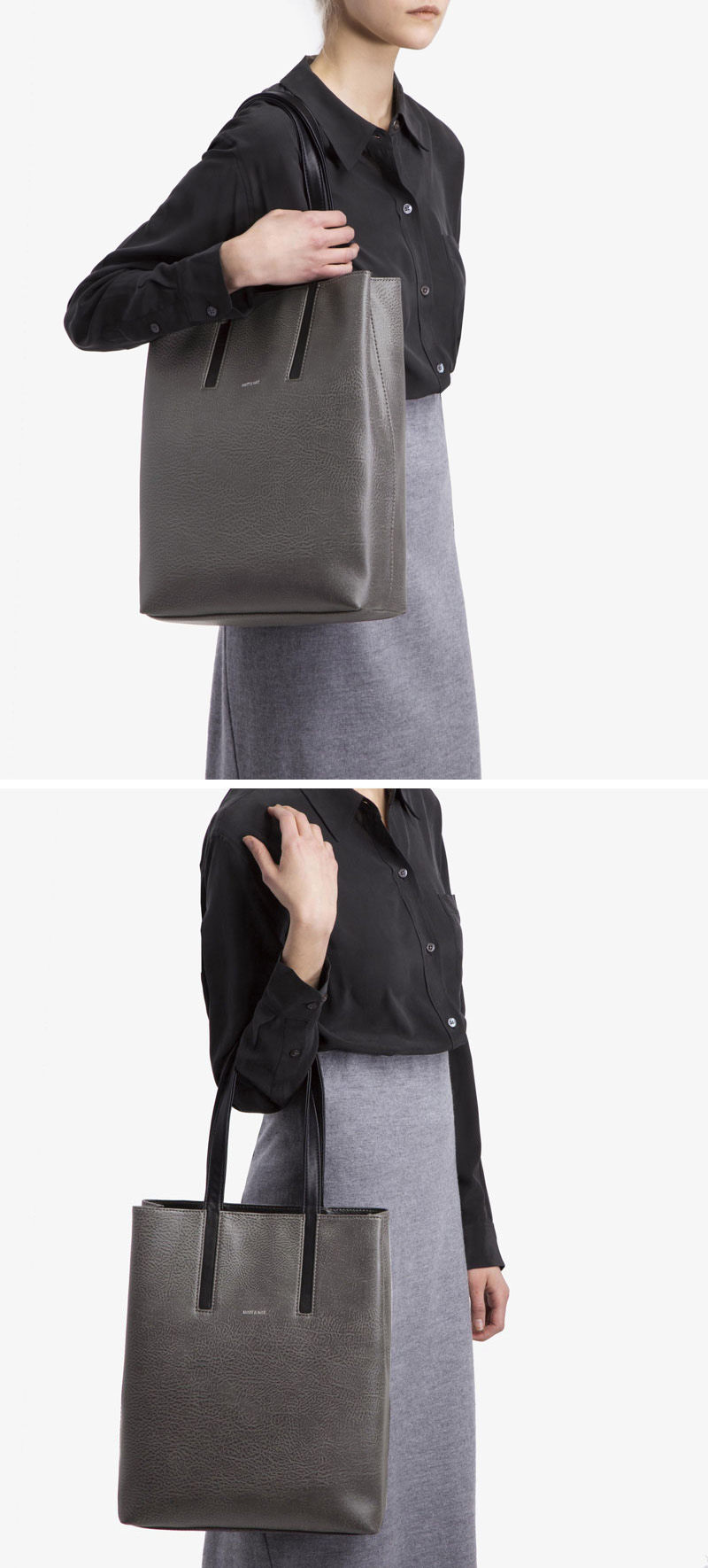The lining inside this grey and black modern vegan leather tote is made from recycled bottles.