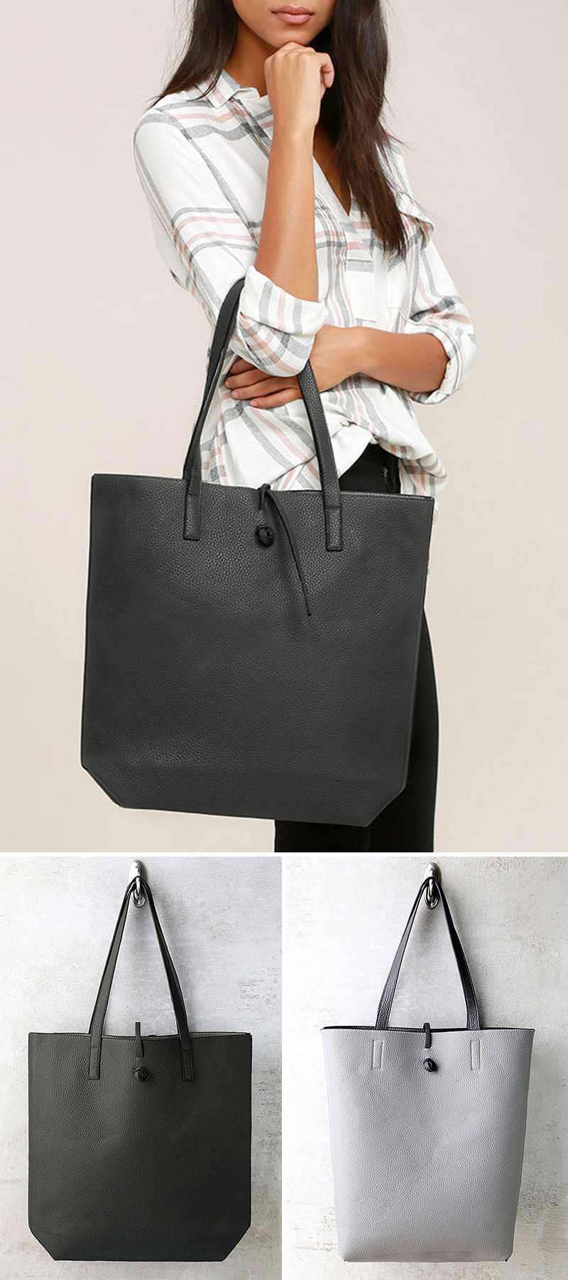 This modern reversible grey vegan leather tote has a tie closure to make sure all the contents of your bag stay inside.