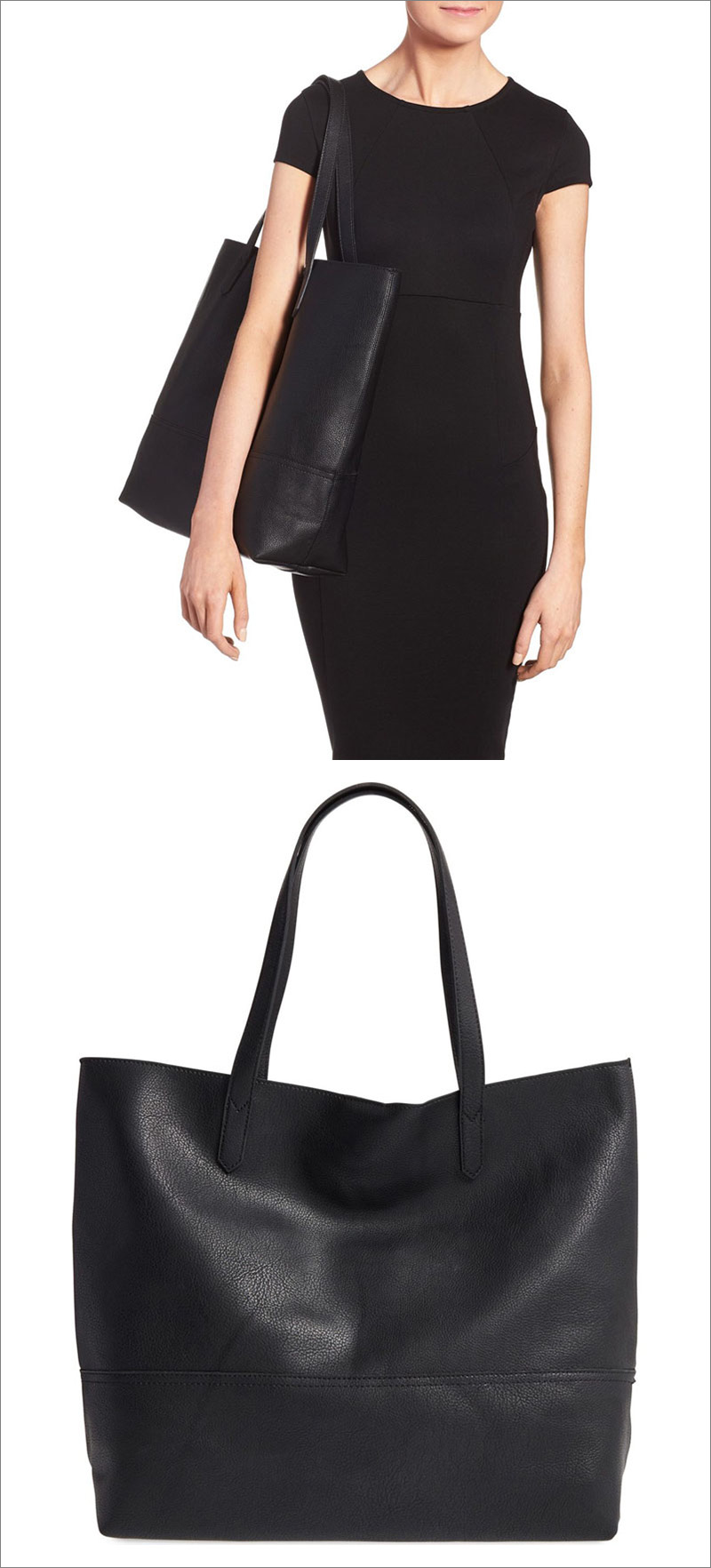 This modern black vegan leather tote is sophisticated and functional, making it perfect for work or a night out