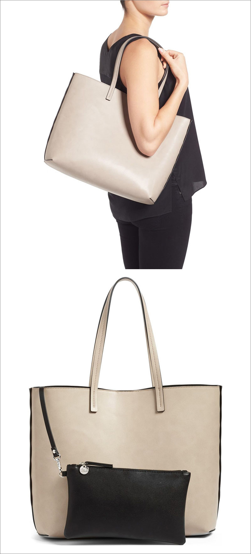 This minimalist light colored faux leather tote comes with a small black modern zip up pouch to tuck inside.