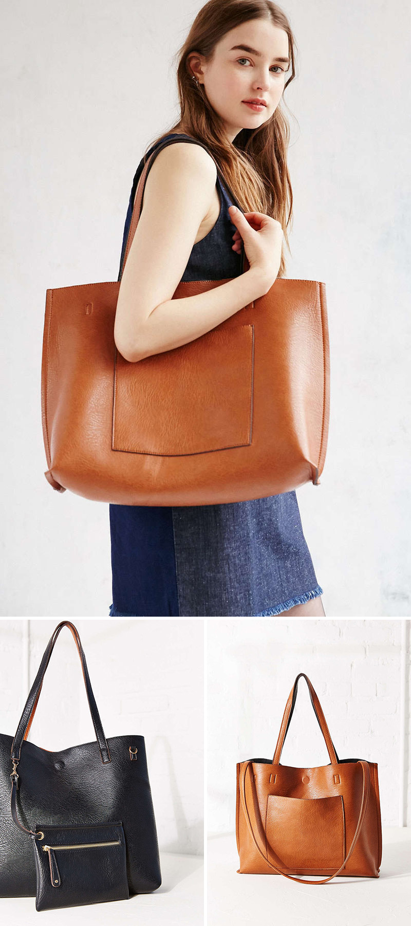 4a2a4a58f7e13 This modern reversible brown/black vegan leather tote has a pocket on both  sides to