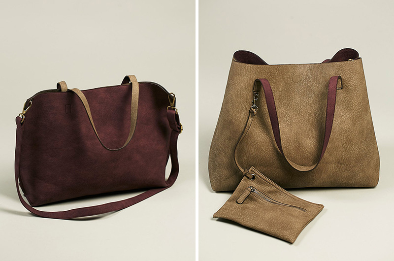 This modern slouchy tote is reversible and comes in a wide range of colors.