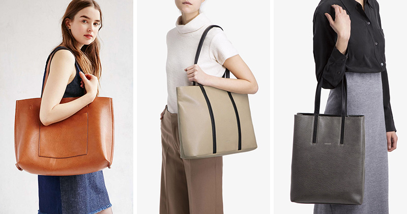 These vegan leather totes are modern and functional making them perfect for women's fashion.