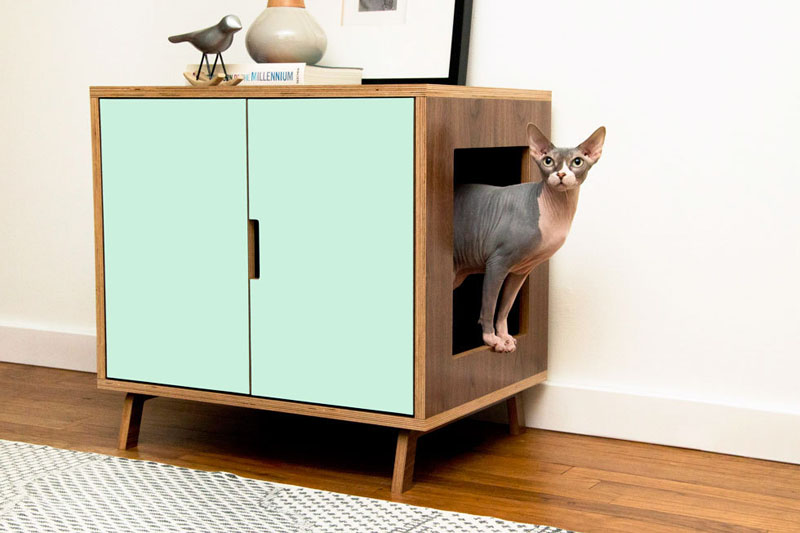 These Mid-Century Modern Inspired Cabinets Hide A Cat's Litterbox