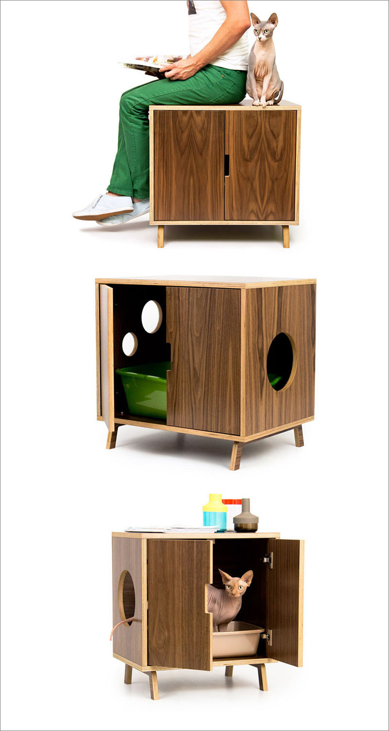 This modern walnut wood cabinet can be used as a litter box container, a cozy hiding spot for your cat, or even a seat for you.