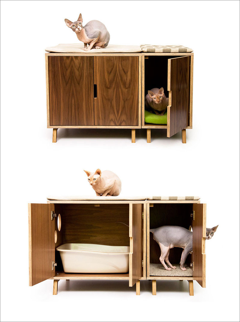 This modern walnut wood litter box has hardware free doors making it easy to clean and change the litter.