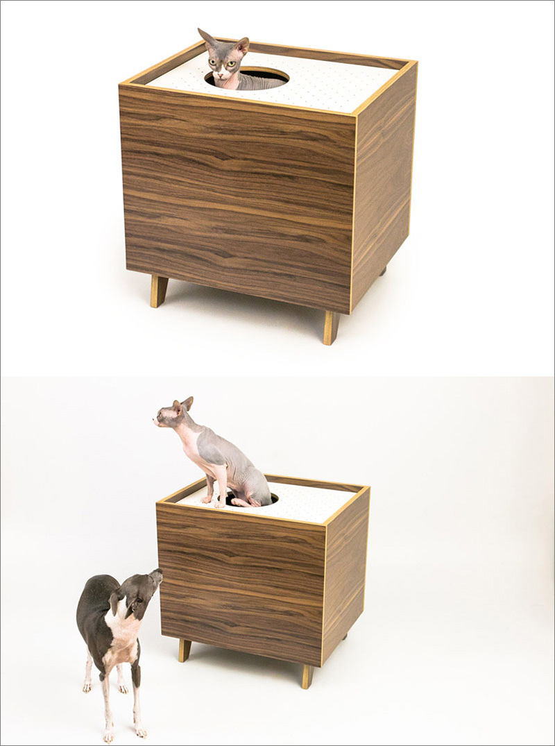 These mid century modern inspired cabinets hide a cat 39 s litterbox contemporist - Modern kitty litter box ...