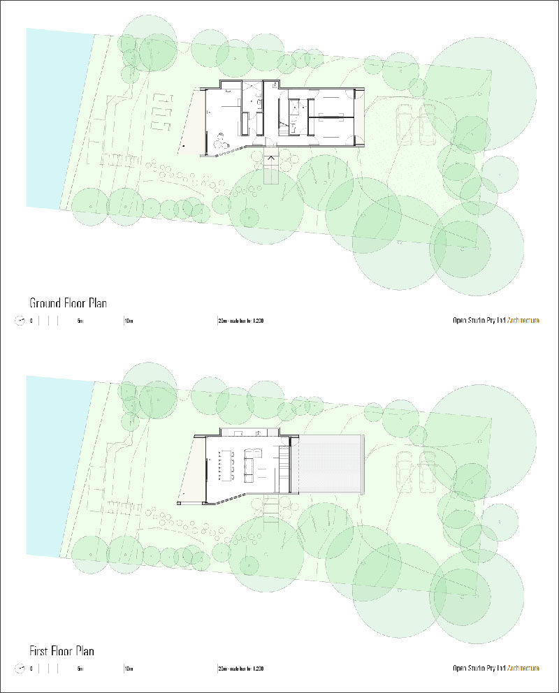 This is the floor plan for a modern beach house with two levels.
